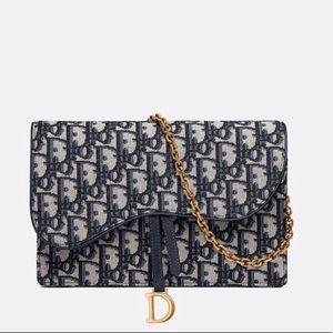 Dior oblique saddle clutch canvas wallet on chain